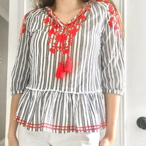 Beautiful striped floral embroidered tassel blouse